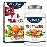 Multivitaminas y Minerales - 450 Comprimidos Multivitamínicos veganos - Todas las vitaminas y...